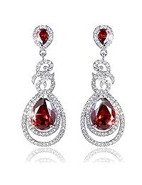 Ever Faith Dual Leaves Rings Teardrop Wedding Dangle Earrings Flawless Cubic Zirconia Clear