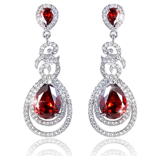 EVER FAITH Flawless Zircon July Birthstone Dual Leaves Rings Teardrop Earrings Ruby Color (Silver Tone Rhinestone Earrings)