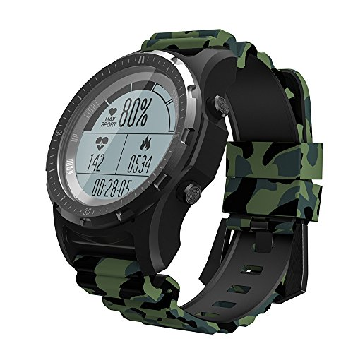 Black Box Navigation Interface - Kariwell S966 Outdoor Smart Men Watch - GPS/Bluetooth/Step/Mileage/Calories/Stopwatch/Sports Mode/Bluetooth Call/Sleep Monitoring/Smart Bracelet for Real Men Kari-129 (Army Green)
