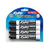 EXPO 80661 Low-Odor Dry Erase Markers, Chisel Tip, Black, 4-Count