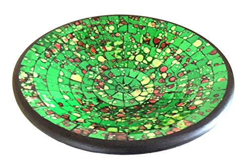 OMA Mosaic Glass & Ceramic Bowl Decorative Tray Candy Bowl - Large Size Federal (TM) Brand (Green) (Platter Glass Federal Glass)