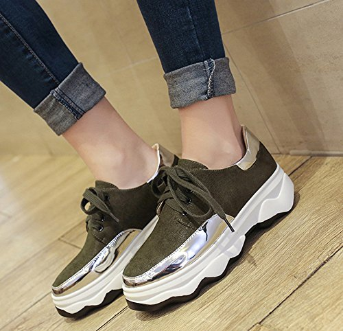 De Baskets Epaise Talon Femme Sport Chaussures Moyen Aisun Mode Semelle Vert Fille vwRqvS0