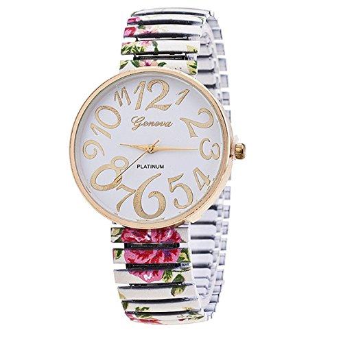 Style Gold Dial (Vavna Flower Style Big Number Dial Gold Women Steel Bracelet Dress Watch - White)