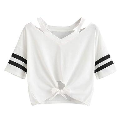 Bestow Correa de Mujer Camiseta de Manga Corta Top Cuello Redondo ...