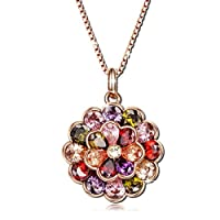 "Qianse ""Party Queen"" Vintage 3D Double Flowers Pendant Rose Gold Plated Necklace with Cubic Zirconia"