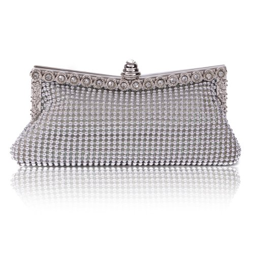 Damara Womens Dimple Mesh Crystals Mini Clutch Evening Bag, ()