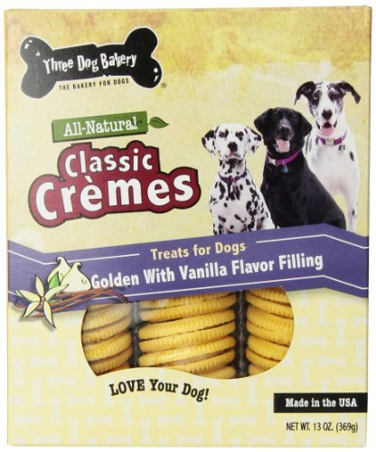 Three Dog Bakery 13-Ounce Classic Cremes Golden with Vanilla Filling Baked Dog Treats by Three Dog Bakery For Sale