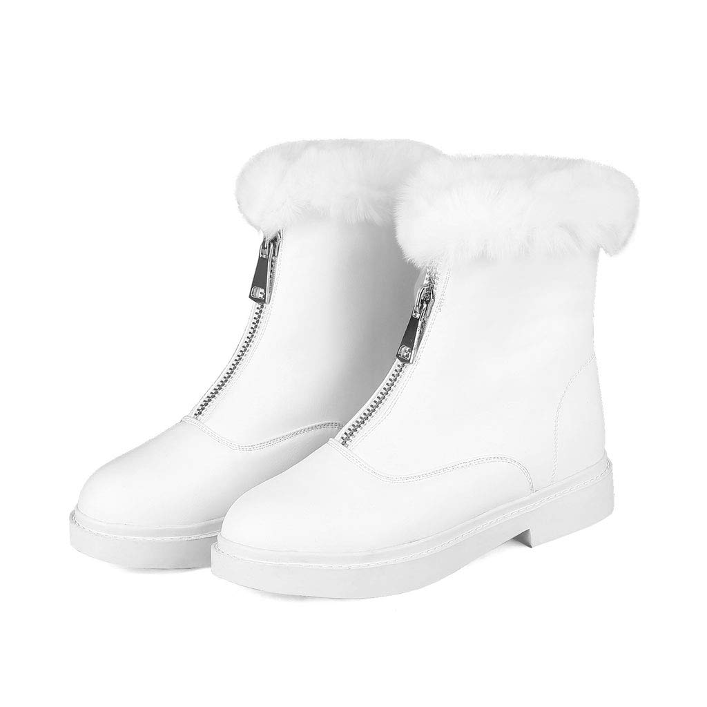 White Casual Short Boots, Low Heel Women's shoes Front Zipper Ankle Boots Round Head Low Tube Martin Boots Waterproof Platform Non-Slip Warm Knight Boots