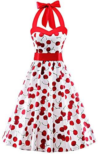 V Fashion 50s Rockabilly Halter Polka Dots Audrey Dress Retro Cocktail Dress Cherry White Large ()