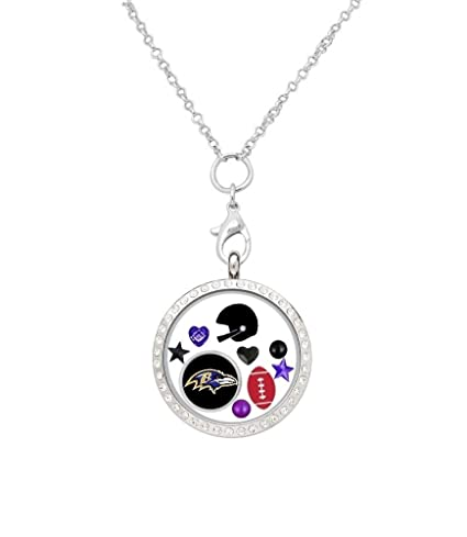 Amazon.com: Baltimore Ravens flotante Locket en una cadena ...