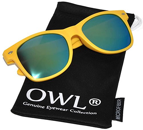 Womens Vintage Green Mirror Lens Sunglasses Matte Yellow Frame