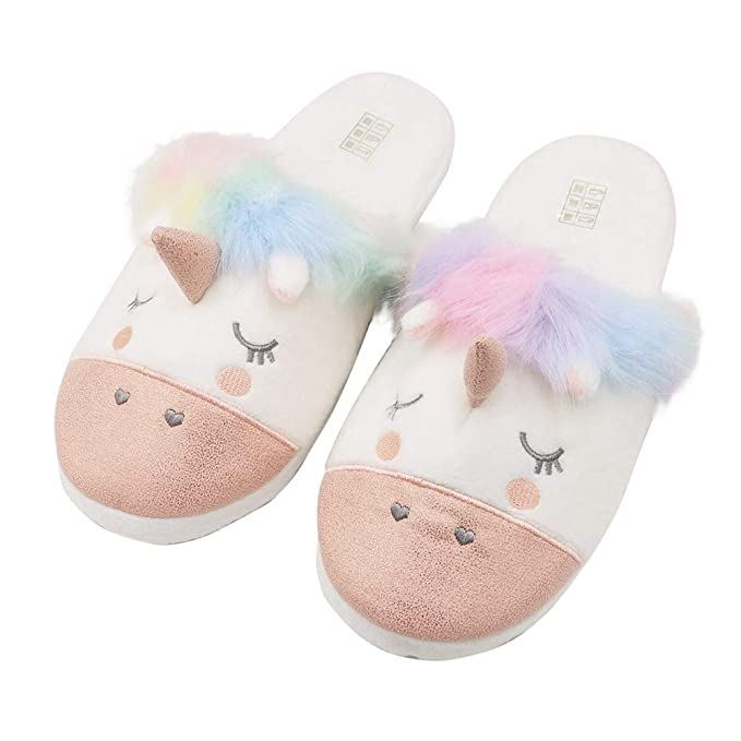 3a0499b01193 Image Unavailable. Image not available for. Color  Mwfus Women s Funny Cartoon  Unicorn Plush Slippers ...