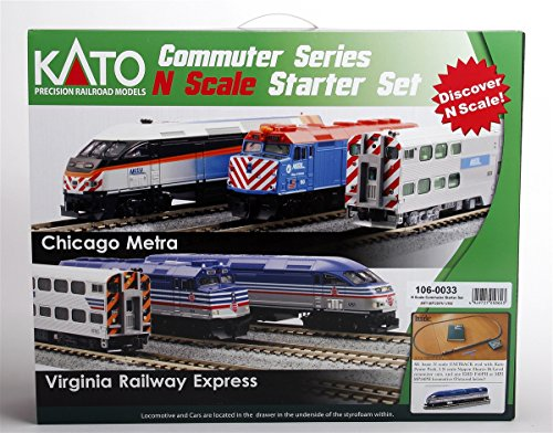 (Kato USA Model Train Products N MP36PH and Gallery Bi-Level Commuter Series Virginia Railway Express UNITRACK Starter Set)