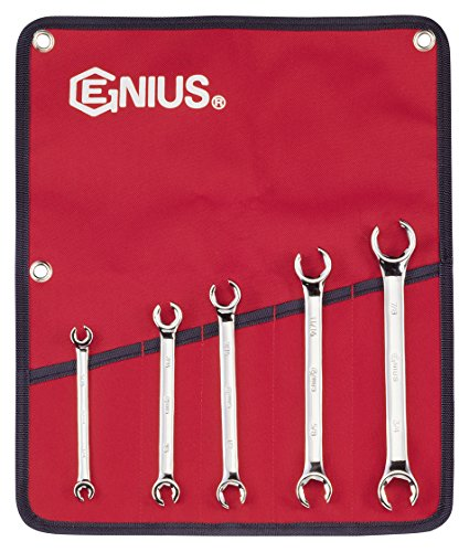 Genius Tools 5 Piece SAE Flare Nut Wrench Set FN-005S ()
