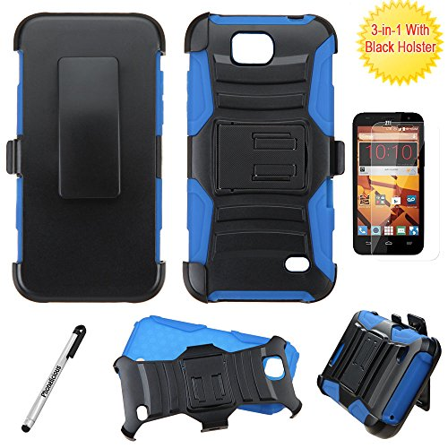 ZTE MAJESTY PRO Case / ZTE MAJESTY PRO PLUS Case, Phonelicious Xtreme Armor [Heavy Duty] Hybrid Dual Layer Kickstand Belt [Holster Clip] Combo Rugged Tuff+ Screen Protector & Stylus (BLUE XC)