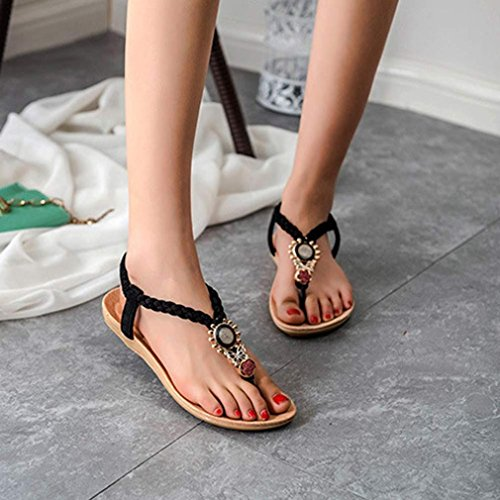 AutumnFall® Summer Women Girl Bohemia Sweet Beaded Sandals Clip Toe Sandals Beach Shoes (6.5, Black)