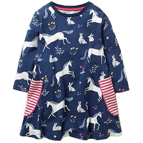 KIDSALON Little Girls Cotton Crewneck Cotton Dresses with Pocket (6T, Cute Horses) ()