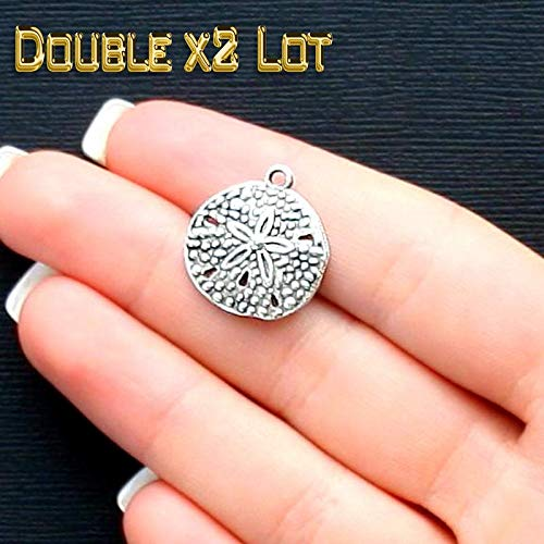 (Double x2 LOT of 50 Sand Dollar Charms Vintage Crafting Pendant Jewelry Making Supplies - DIY for Necklace Bracelet Accessories by CharmingSS)