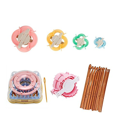 4 Round & 1 Square Knitting Looms Set Craft Kit Tool with 12 Wooden Hook Needles 1 Heart & 4 Round Pompom Makers by Linchunli Handcraft