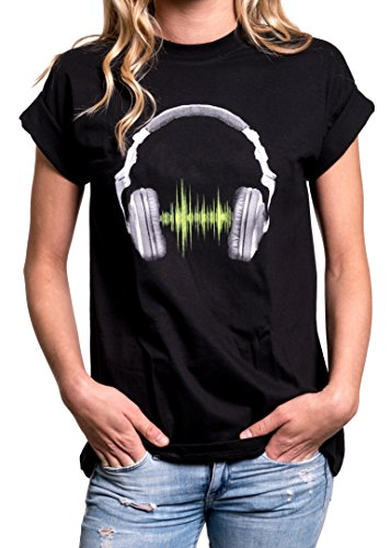 Cool Oversized Top for Teenage Girls - HEADPHONES - Music T-Shirt Black Plus Size US 16-18 = (Cheap Teenage Girls Clothes)
