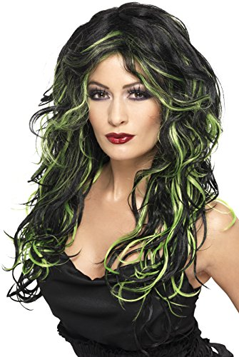 [Smiffy's Women's Long Green and Black Streaked Wig with Waves, One Size, Gothic Bride Wig,5020570358276] (Black And White Streaked Wig)