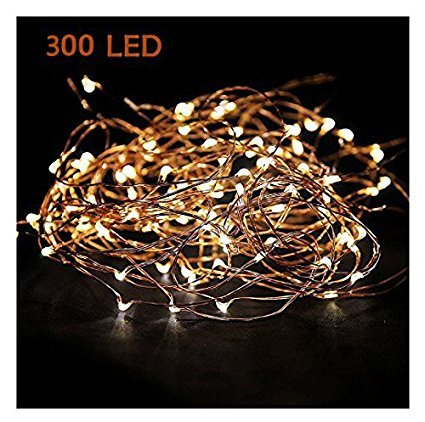 Extra Long 100foot 300led Starry String Lights Warm White on a Flexible Copper Wire, 100foot Starry Lights for Indoor, Outdoor, Decorative , Patio, Wedding, Garden, Room by MineTom (Image #1)