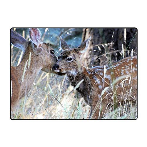 Hotspot Stylish Mule Deer Bath Mat Art Doormat Outdoor Indoor Rubber Door Mats Thin Non Slip Carpets for Front Door Kitchen Bedroom Garden 60x39(in) -