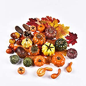 Hamore 38 Pieces Artificial Pumpkins with Maple Leaves Pine Cones Acorns in 3 Bags for Thanksgiving Day Decor, Mixed Fake Fruit Farmhouse Table Props Ornaments for Thanksgiving Day Halloween Party