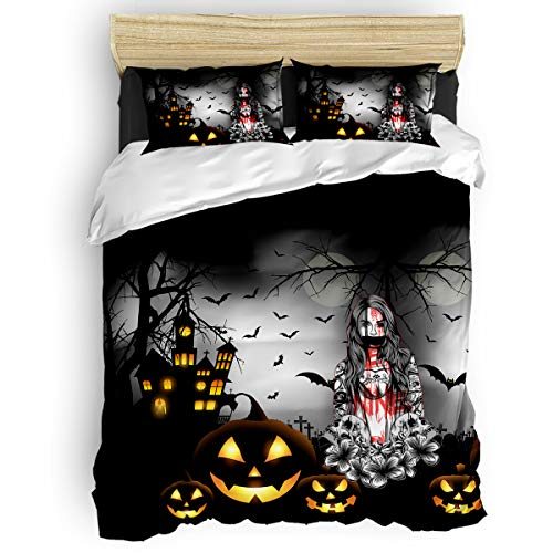 Family Decor Twin 4 Piece Bedding Duvet Cover Sets Bedspread with 2 Decorative Pillow Shams, Hotel Quality Lightweight Luxury Warm Microfiber, Halloween Night Horror Castle Pumpkin and Zombie Girl