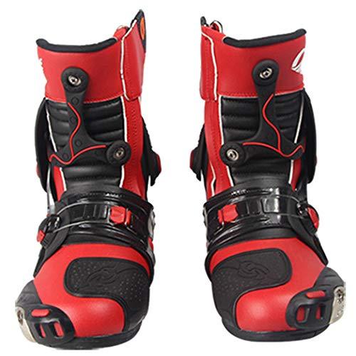 da Red Crociera da Motocross Strada Stivale da Scarpe Microfibra Protezione Stivali Stivale Antiproiettile in Slittamento Stivale Anti Pelle w1gqYHT