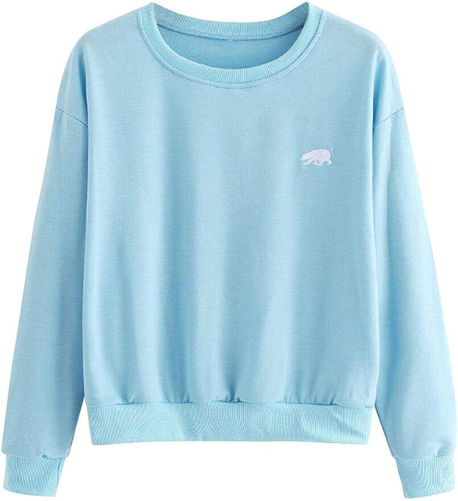 AOJIAN Women Hoodie Long Sleeve Hooded Bear Embroidery Sweatshirt Pullover