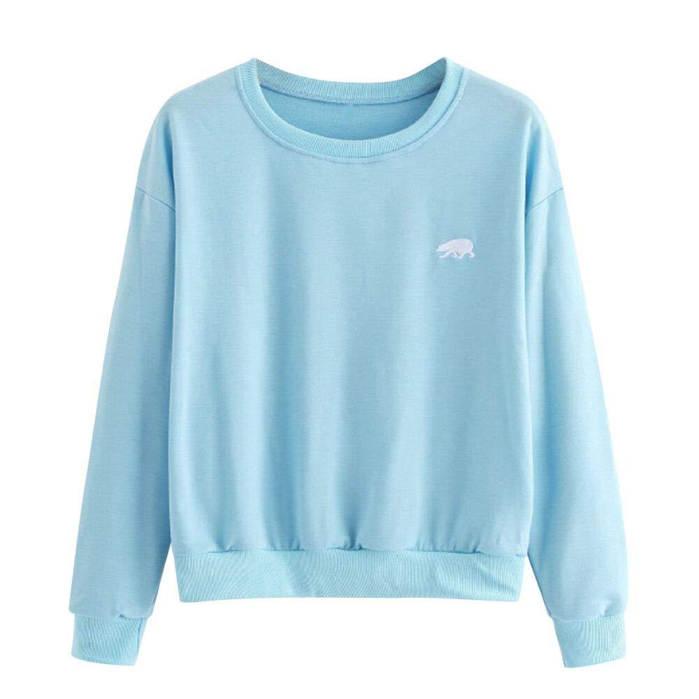 Spbamboo Womens Blouse Embroidery Round Neck Long Sleeve Casual Shirt Sweatshirt