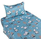 J-pinno Happy Donkey or Sheep Twin Sheet Set for Kids Boy Children,100% Cotton, Flat Sheet + Fitted Sheet + Pillowcase Bedding Set