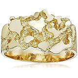 Men's 14k Yellow Gold Nugget Diamond-Cut Ring, Size 8