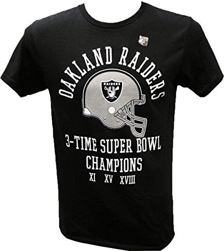 NFL Oakland Raiders 3 Time Super Bowl Champ T-Shirt, Black, Large