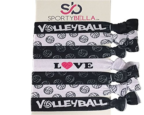 (Infinity Collection Volleyball Hair Accessories, Volleyball Hair Ties, No Crease Volleyball Hair Elastics Set)