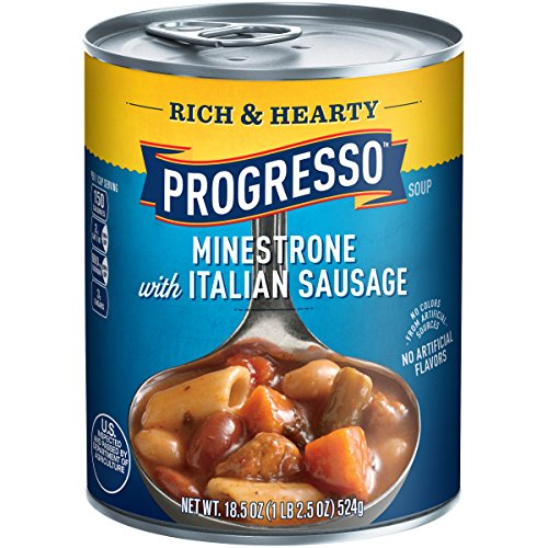 Progresso Soups Rich and Hearty Minestrone with Italian Sausage Soup, 18.5 Ounce