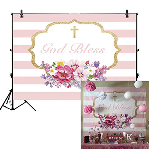 Allenjoy 8x6ft Photography backdrops Baptism First Communion Christening Floral Birthday God Bless Party Baby Shower Banner Photo Studio Booth Background photocall]()