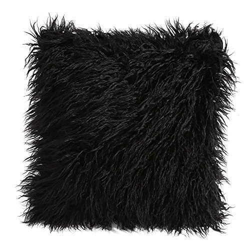 Black Pillow - ZOMUSA Home Decorative Super Soft Plush Mongolian Faux Fur Throw Pillow Cover Cushion Case (Black)