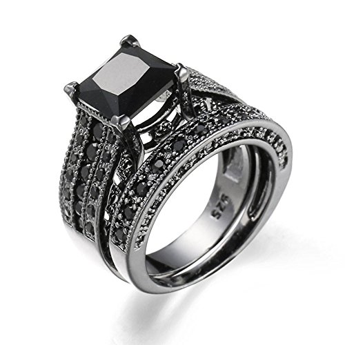 Bokeley Valentine's Day Rings Gift, 2-in-1 Womens Vintage White Diamond Silver Engagement Wedding Band Ring Set (Black, US Size: 9)