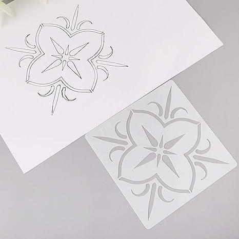 Home 12pcs Kids Datura Flowers Drawing Molds Plastic Children Painting Stencils Diy Paper Art Craft Card Label Scrapbook Bookmark