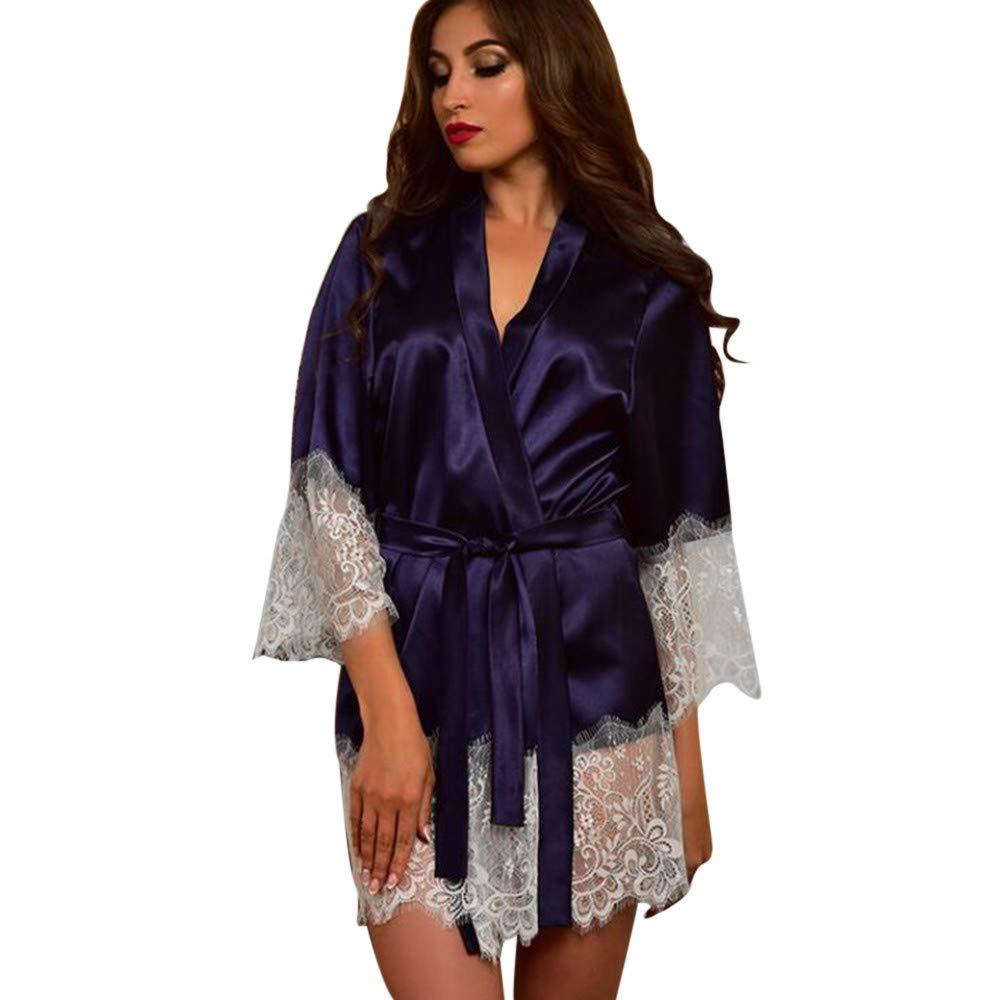 iLXHD Women Sexy Satin Kimono Dressing Gown Babydoll Lace Lingerie 3/4 Sleeve Bath Robe Nightwear Dark Blue