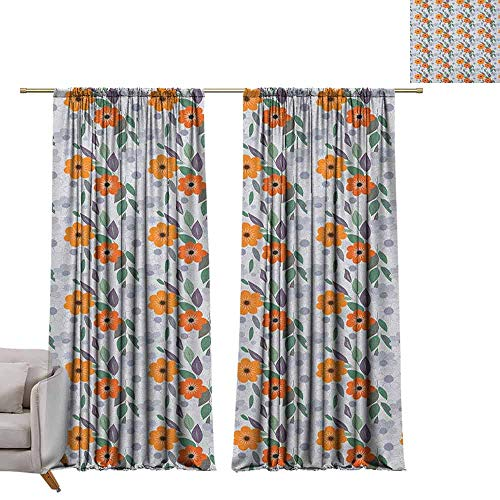 Shades Window Treatment Valances Curtains Floral,Pastel Colored Spring Blossom Field Essence Nostalgic Feminine Mother Nature Petals, Multicolor W72 x L96 Thermal Insulated Blackout Curtains (Fields Floral Valance)