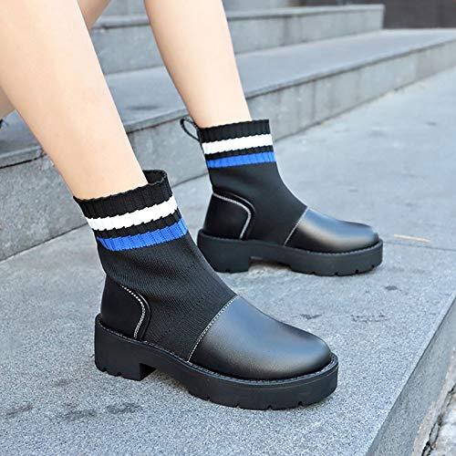 ZHZNVX Damenmode Stiefel PU Elastic Fabric Herbst-beiläufige Stiefel Stiefel Stiefel Chunky Heel Round Toe Mitte-Kalb-Stiefel Schwarz Blau   Farbblock e5d6f1