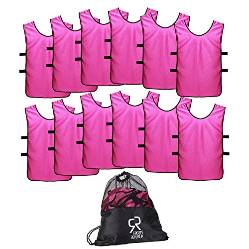 SportsRepublik Pinnies Scrimmage Vests for Kids, Youth and Adults (12-Pack) - Perfect as Basketball Team Practice Jersey, Football Jersey or Pennies for Soccer - Last Longer and Look Cooler -