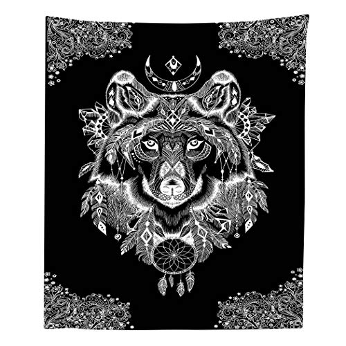 Simsant Wolf God Tapestry Black and White Tapestry Wall Hanging Totem Theme Wall Blanket Flannelette Wall Tapestry for Living Room Curtain (40x60inches 101.6x152.4CM) ()