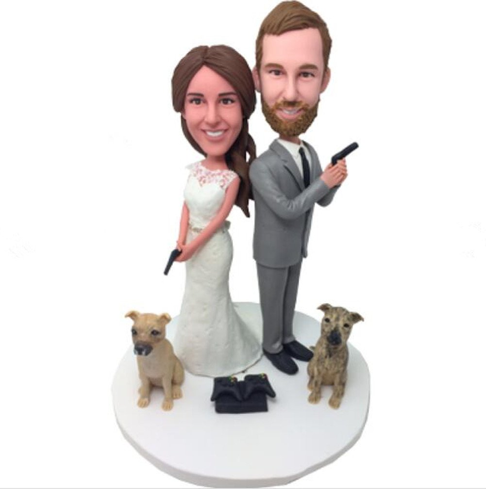 Custom Heroes and Dogs Wedding Bobbleheads Polymer Clay Bobbleheads Cake Toppers