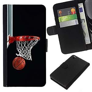 Baloncesto neto del aro - la tarjeta de Crédito Slots PU Funda de cuero Monedero caso cubierta de piel Para HTC DESIRE 816