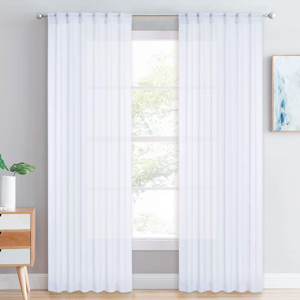 RYB HOME Sheer Curtains Window Drapes, White Voile Privacy Panels with Back Loops/Rod Pocket, Light Glare Flirting for Living Room/Bedroom Canopy Bed/Dining, 54 W x 84 L, 2 Pcs