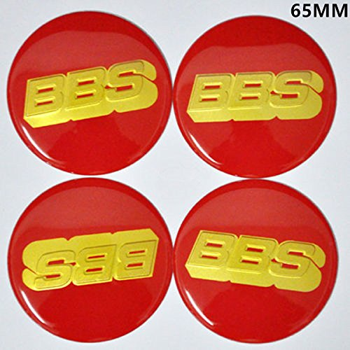 BZQq 4PCS 65mm 3D Hub Wheel Center Caps Badge Sticker For BBS (Red)